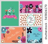 set of cute card with flowers.... | Shutterstock .eps vector #565826170
