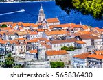 aerial view at old town korcula ... | Shutterstock . vector #565836430