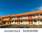 american road motel with blue... | Shutterstock . vector #565836988