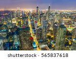 aerial view of chicago downtown ... | Shutterstock . vector #565837618