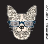 Stock vector vector face of dog with glasses dog have a big ears isolated on black background 565844644