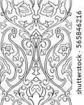 black and white floral pattern. ... | Shutterstock .eps vector #565846216