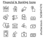 financial   banking icon set in ... | Shutterstock .eps vector #565847470