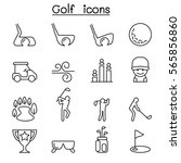 golf icon set in thin line style   Shutterstock .eps vector #565856860
