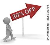 twenty percent off arrow sign... | Shutterstock . vector #565860796
