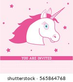 birthday card with unicorn.... | Shutterstock .eps vector #565864768