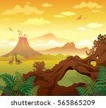 prehistoric landscape   volcano ... | Shutterstock .eps vector #565865209