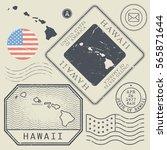 retro vintage postage stamps... | Shutterstock .eps vector #565871644