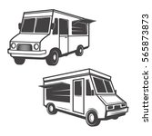 set of food trucks isolated on... | Shutterstock . vector #565873873