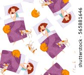 sleeping girls with a cat and a ... | Shutterstock .eps vector #565881646