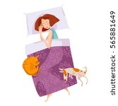 Stock vector sleeping girl with a cat and a dog good night sweet dreams vector illustration 565881649