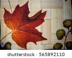 maple leaf wooden tray | Shutterstock . vector #565892110