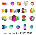 set of vector shiny blank boxes ... | Shutterstock .eps vector #565896748