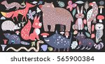 wild forest animals   hand... | Shutterstock .eps vector #565900384