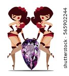 twins two girls in lingerie... | Shutterstock .eps vector #565902244