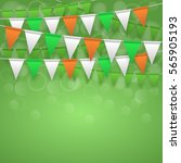 colorful festive flags on green ...   Shutterstock . vector #565905193