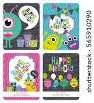 monster party card design.... | Shutterstock .eps vector #565910290