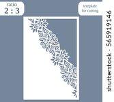 laser cut wedding card template ... | Shutterstock .eps vector #565919146