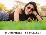 outdoor portrait of a beautiful ... | Shutterstock . vector #565931614