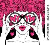 wow pop art face. sexy... | Shutterstock .eps vector #565935346