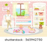 baby girl room interior. baby...   Shutterstock .eps vector #565942750
