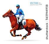jockey on horse. champion....   Shutterstock .eps vector #565944958
