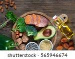foods rich in vitamin e  as... | Shutterstock . vector #565946674
