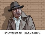 an old mafia man standing front ... | Shutterstock .eps vector #565953898