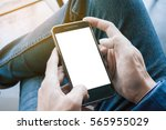 man using mobile phone with... | Shutterstock . vector #565955029