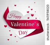 satin curly ribbon. valentine... | Shutterstock .eps vector #565958020