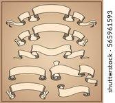 vector ribbon set. banner... | Shutterstock .eps vector #565961593