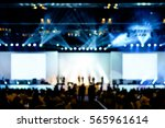 Small photo of blurred background of event concert lighting at conference hall