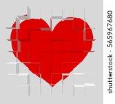 modern 3d heart of bricks.... | Shutterstock .eps vector #565967680