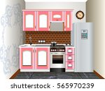 small kitchen design  kitchen... | Shutterstock .eps vector #565970239