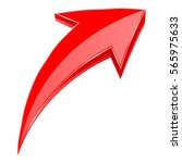 red arrow. 3d shiny up rising... | Shutterstock . vector #565975633