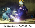 male  worker wearing protective ... | Shutterstock . vector #565982104