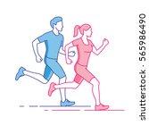 man and woman running linear... | Shutterstock .eps vector #565986490