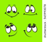 set of funny smiles on a green... | Shutterstock .eps vector #565993078