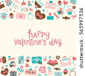 happy valentines day square... | Shutterstock .eps vector #565997536