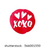 kiss and hearts on a red... | Shutterstock .eps vector #566001550
