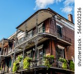 balconies and plants on a old...   Shutterstock . vector #566003236