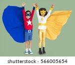 superhero kids hands up flying... | Shutterstock . vector #566005654