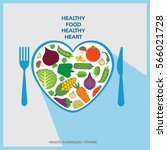 healthy heart with healthy food ... | Shutterstock .eps vector #566021728