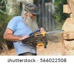 Closeup Of A Chainsaw Sculptor...