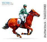 Stock vector jockey on horse champion horse racing hippodrome racetrack jump racetrack horse riding 566023480