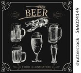 set of hand drawn beer isolated ... | Shutterstock .eps vector #566024149