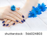 beautiful blue manicure with... | Shutterstock . vector #566024803
