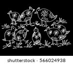 bird  family hand drawing... | Shutterstock .eps vector #566024938