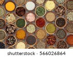 spice and herb seasoning in... | Shutterstock . vector #566026864