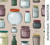 pattern of empty jars isolated... | Shutterstock .eps vector #566029258
